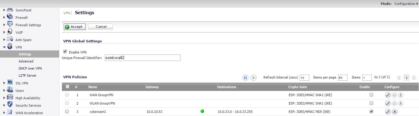 Site-to-Site IPSec VPN Cyberoam to SonicWall   Nbctcp's Weblog