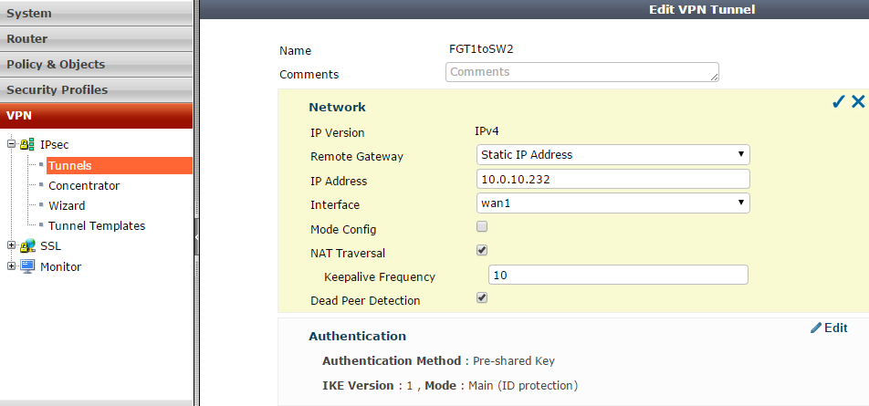 Site-to-Site IPsec VPN FortiGate to SonicWall | Nbctcp's Weblog